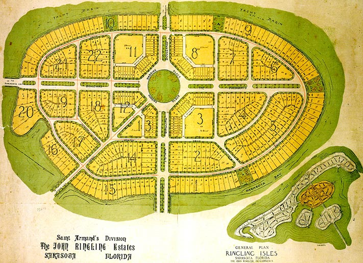 Historical map of St. Armands in Sarasota, FL