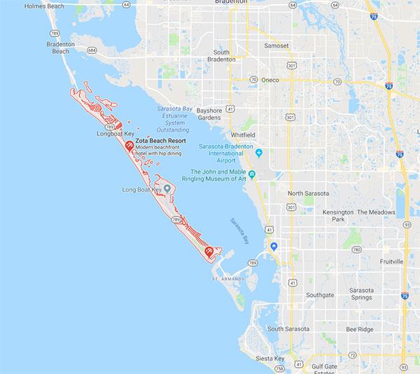 Longboat Key in Sarasota, Florida area map
