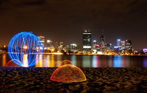 Light painting, orb and domes on the bank of the Swan River, Perth, Western Australian