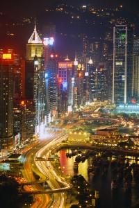Freeway Running Along Harbor of Hong Kong