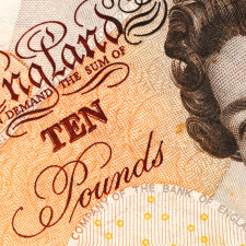 British ten pound note for Forex trading.