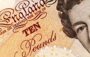 British ten pound note for Forex trading.