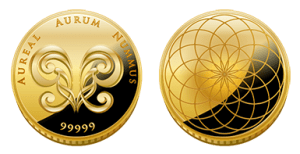 Aureals gold coin front back
