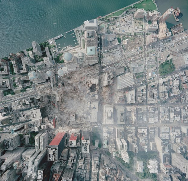 Aerial photo of the World Trade Center site, as it appeared on September 23, 2001 - How Much Gold Was Under WTC Complex?