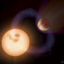 "This is an artist's impression of a unique type of extrasolar planet discovered with the Hubble Space Telescope. The planet is so close it to its star that it completes an orbit in 10.5 hours. The planet is only 750,000 miles (about 1.207 Million kilometres) from the star, or 1/130th the distance between Earth and the Sun. The Jupiter-sized planet orbits an unnamed red dwarf star that lies in the direction of the Galactic Centre; the exact stellar distance is unknown. Hubble detected the planet in a survey that identified 16 Jupiter-sized planets in short-period, edge-on orbits (as viewed from Earth) that pass in front of their parent stars. Hubble could not see the planets, but measured the dimming of starlight as the planets passed in front of their stars. This illustration presents a purely speculative view of what such a ""hot Jupiter"" might look like. It could have a powerful magnetic field that traps charged particles from the star. These particles create glowing auroral rings around the planet's magnetic poles. A powerful magnetic flux tube links the planet and star. This enhances stellar activity and triggers powerful flares. A powerful stellar wind creates a bow shock around the planet. Forecasting the planet's atmosphere seethes at 1,650 degrees Celsius."