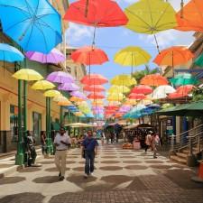 Colorful umbrellas at Caudan Waterfront Mall, Port Louis, Mauritius - Standard Bank