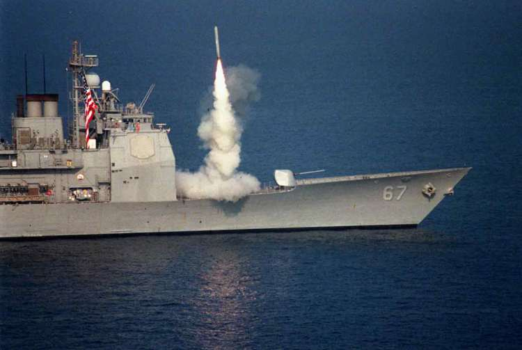 U.S. Navy War Ships Launch Tomahawk Cruise Missiles