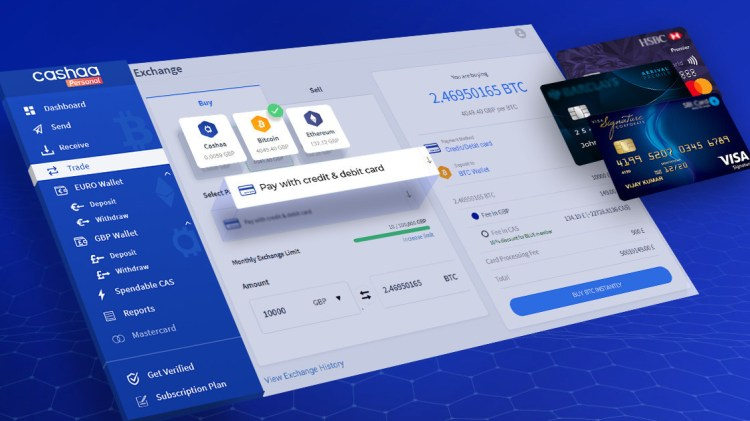 Cashaa added Mastercard and Visa Credit/Debit Card for Crypto Purchases