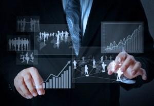 financial charts and stockbroker