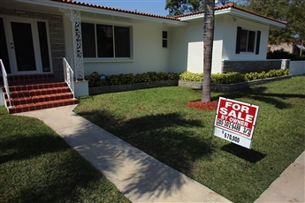 Homes stayed on the market a median 74 days in Feb., down from 97 a year earlier. This one's in Miami, Fla.