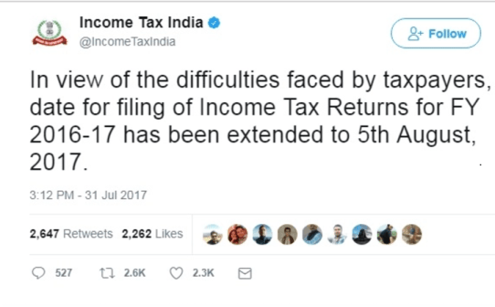 due date for ITR filing is 5th August 2017