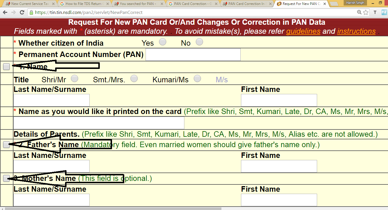 PAN Card Correction In 8 Easy Steps - Pan Card Application Form Correction Download on pan card correction application form, pan card apply online, pan card form 49a,
