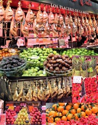 Collage di prodotti del Mercado Central (Valencia, Spagna)