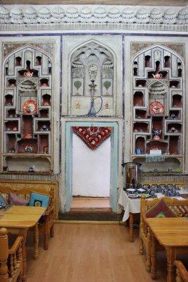 Viaggio in Uzbekistan, sala colazione al Amelia Boutique Hotel di Bukhara
