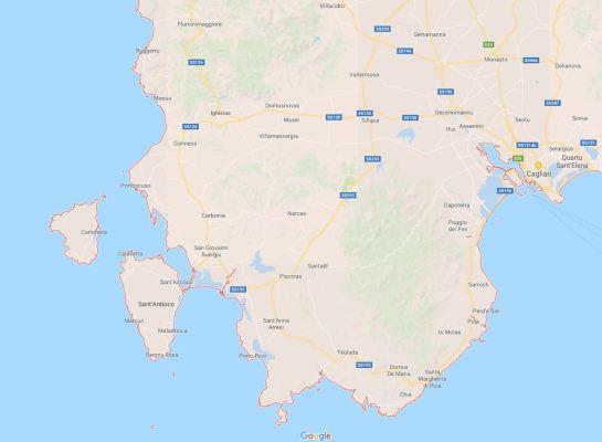 Mappa Sardegna sud ovest
