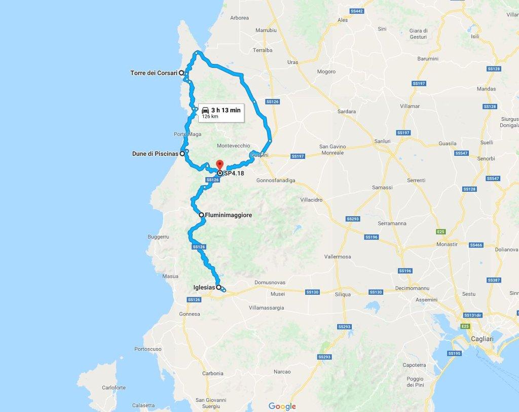 Mappa Km Sardegna.Costa Verde Ed Iglesiente Spiagge E Natura Selvaggia In