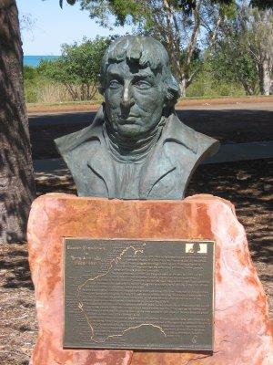 Il busto dedicato all'esploratore Nicolas Baudin a Broome in Australia