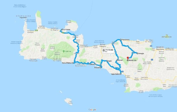 Mappa itinerario Creta on the road