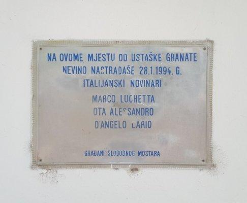 Targa commemorativa Lucchetta Ota D'Angelo Mostar