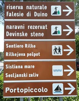 Segnaletica per il sentiero Rilke Sistiana