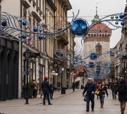 Ulica Floriańska addobbata per Natale Cracovia