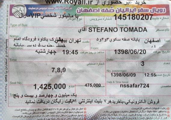 Biglietto bus da Esfahan a Teheran (Iran)