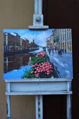 Un quadro che ritrae il Naviglio Grande a Milano