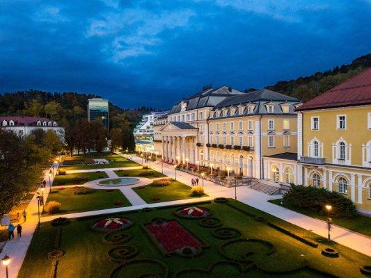 Panorama del centro storico di Rogaška Slatina in Slovenia