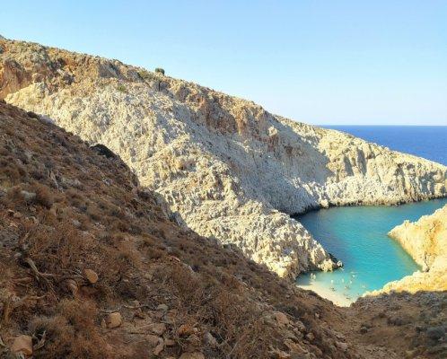 Panorama della spiaggia di Seitan Limani a Creta