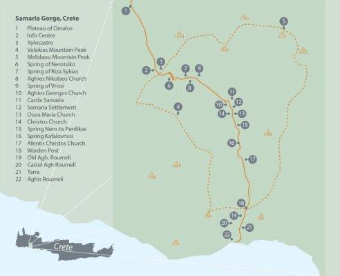 Mappa delle Gole di Samaria a Creta