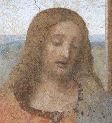 L'Ultima Cena di Leonardo da Vinci a Milano, dettaglio del volto di Cristo