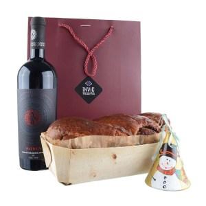 Pachet cadou - Clopoțel Crăciun, Cozonac proaspăt Pania și vin Fetească Neagră Nativus