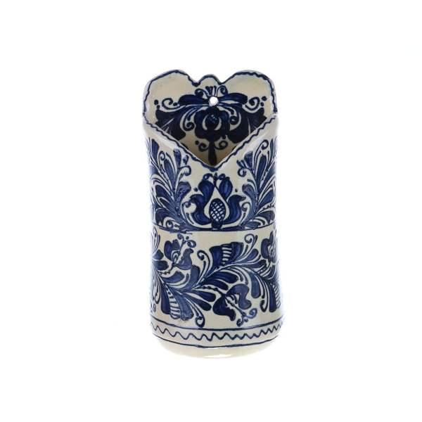 Suport linguri / palete agatat perete ceramica albastra de Corund