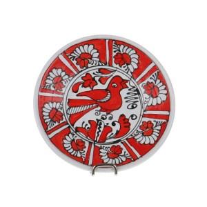 Farfurie decorativa ceramica rosie de Corund 13 cm