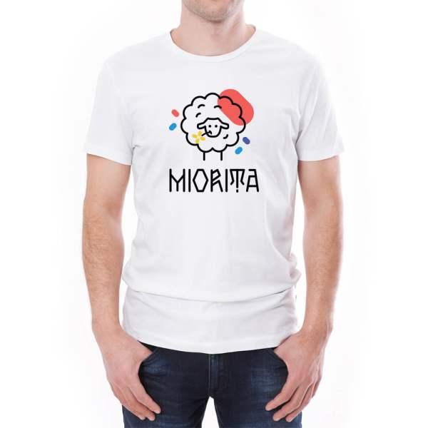 Tricou bărbați Miorița Învie Tradiția alb/negru
