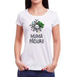 Tricou femei Muma Pădurii Învie Tradiția alb/negru