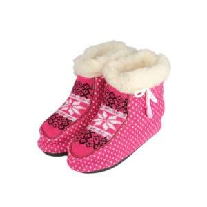 Ghete de casă de damă roz tricotate cu căptuseală din lână