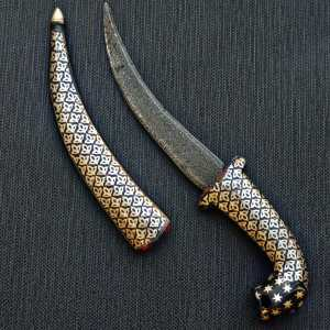 DAGGER KNIFE (Damascus Steel Blade)(SILVER ART)