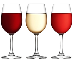 Glass of red, pink and white wine