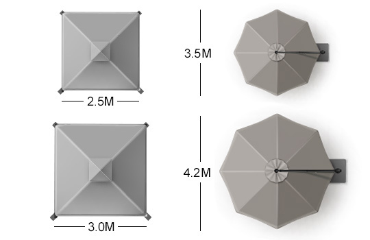 Shadowspec Rotating Cantilever Umbrellas Sizes