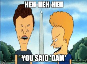 "Beavis and Butthead at Washington Monument. Caption: ""Heh heh heh, You Said DAM"""