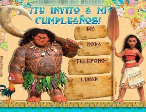 Vaiana birthday invitations for free