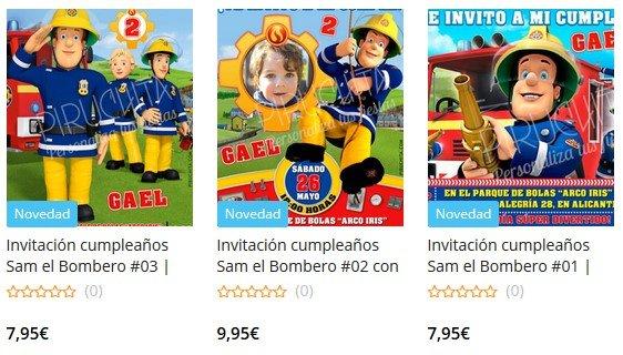 Invitaciones de cumpleaños de Sam el Bombero personalizadas para imprimir
