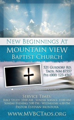 New Beginnings: 3×5 Church Invitation