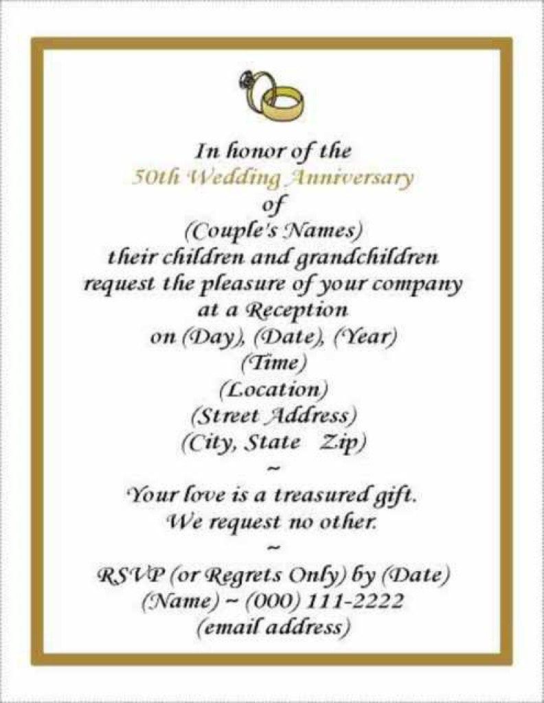 Anniversary Invitation Templates photos free invitation templates – Sample 50th Wedding Anniversary Invitations