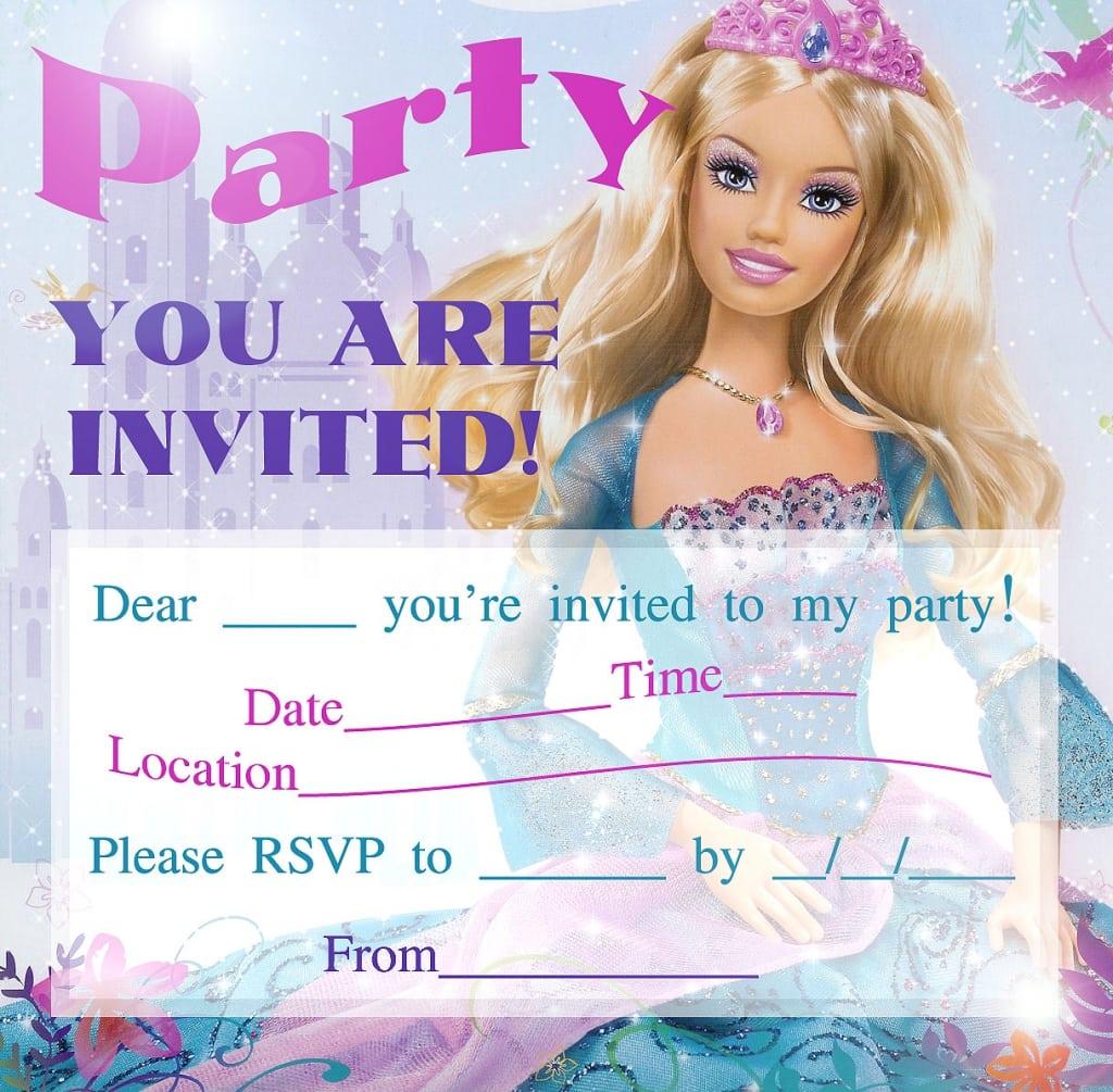 barbie birthday invitations free printable