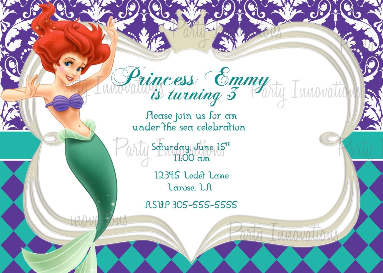 little mermaid birthday invite template