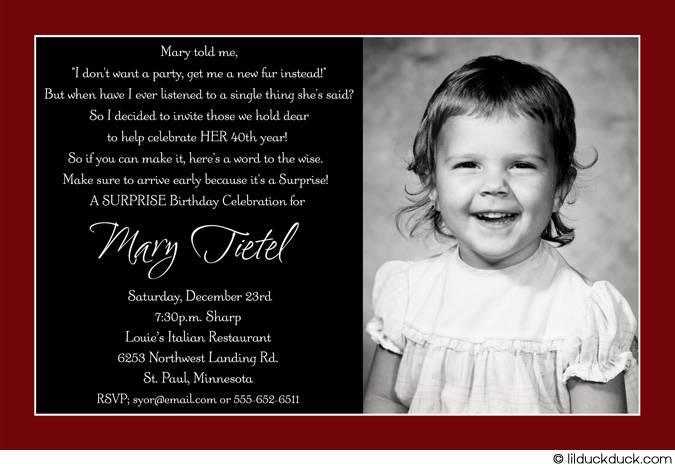 Printable Invitations 40th Birthday