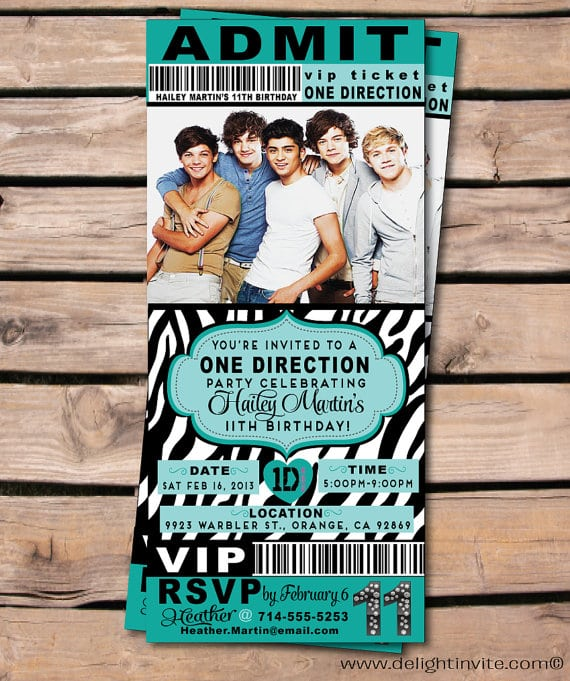 one direction birthday invitations template