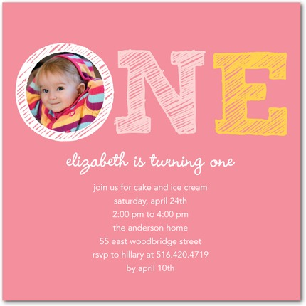 Sketch First Birthday Party Invitations